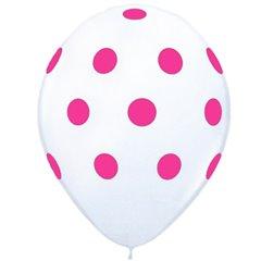 Printed Latex Balloons Big Polka Dots White, Radar GI.DOTS.ALB