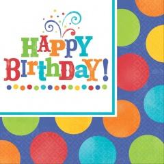 Servetele de masa pentru petrecere - Happy Birthday, 33 cm, Amscan 513680, Set 16buc
