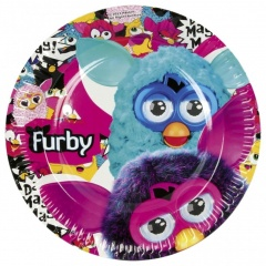 Furby Paper Plates 23 cm, Amscan 552456, Pack of 8 Pieces