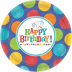 Farfurii petrecere copii 26.6 cm Happy Birthday, Amscan 593680, Set 8 buc
