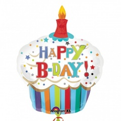 Happy Birthday Cupcake SuperShape Foil Balloon -91 x 74cm, Amscan 24477