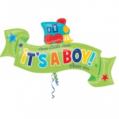 Welcome Little Boy SuperShape Foil Balloon 101x 55cm, Amscan 30904