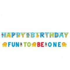 "Banner decorativ bleu pentru petrecere ""Fun to be one"", Amscan 120120"