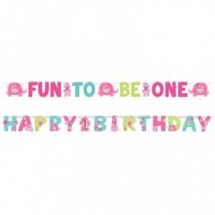 "Banner decorativ roz pentru petrecere ""Fun to be one"", Amscan 120117"