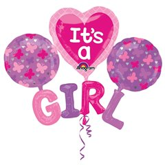Multi Balloon It's A Girl Foil Balloon - 129 x 10 1 cm, Amscan 31217, 4 pieces