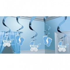 Swirl Decorations Baby Boy, Amscan 679659, Pack of 5 pieces