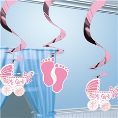 Swirl Decorations Baby Girl, Amscan 679656, Pack of 5 pieces