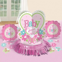 Kit decor masa Baby Girl, Amscan 281458, Set 23 buc