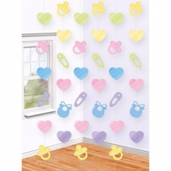 Decor de agatat Baby Shower 2.13m, Amscan 679662, Set 6 buc