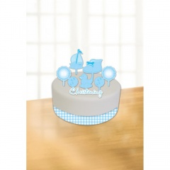 Christening Blue Booties Cake Decorating Kits, Amscan 997311, Pack of 6pieces