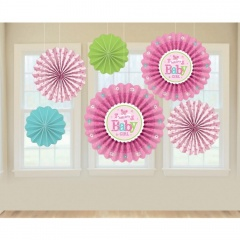 Welcome Baby Girl Paper Fans, Amscan 291458, Pack of 6pieces