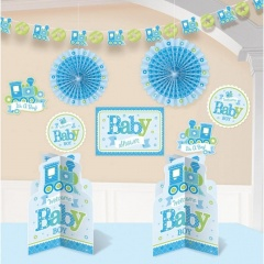 Kit decor bleu Welcome Little One, Amscan 240889, Set 10buc