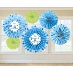 Paper Fan Decorations Shower With Love - Boy, Amscan 291491, Pack of 6 pieces