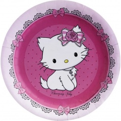Charmmy Kitty Musical Paper Plates 18 cm, Amscan RM551726, Pack of 8 Pieces