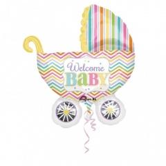 Balon folie figurina carucior Welcome Baby  - 71x79cm, Amscan 31588
