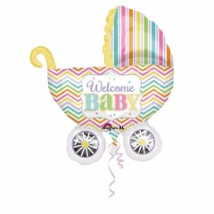 Welcome Baby Buggy Super Shaped Balloon 71 X 79cm, Amscan 31588