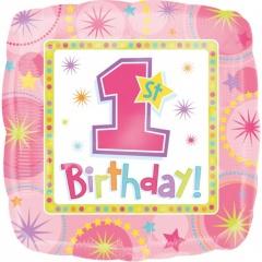 Balon Folie 45cm 1st Birthday Girl, Amscan 11932201