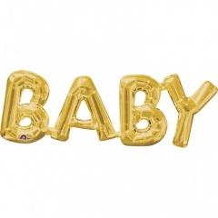 """Baby"" Gold Super Shape Foil Balloon, 66 x 22cm, Amscan 33763"