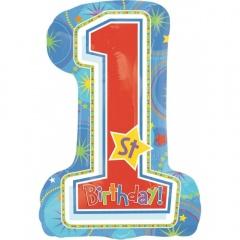First Birthday Boy SuperShape Foil Balloon, Amscan 11929101
