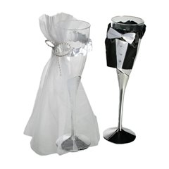 Wedding Plastic champagne glass , Radar 719161, Pack of 2 pieces