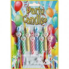 Lumanari aniversare pentru tort multicolore cu Smiley, Radar 181037, Set 8 buc