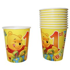 1st Birthday Winnie the Pooh Paper Party Cups, 290 ml, Radar 61242, Pack of 10 pieces