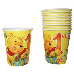 Pahare carton pentru petrecere copii 1st Birthday - Winnie the Pooh, 290 ml, Radar 61242, Set 10 buc