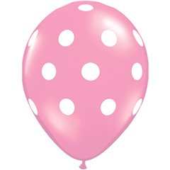Printed Latex Balloons Big Polka Dots Pink, Radar GI.DOTS.ROZ