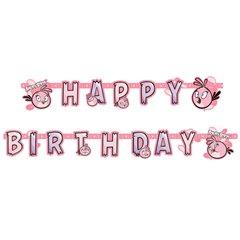 Banner decorativ pentru petrecere 1.8 m, Happy Birthday cu Angry Birds Pink, Amscan 552549, 1 buc