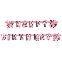 Pink Angry Birds Happy Birthday Banner - 1.8 m, Amscan RM552549, 1 piece