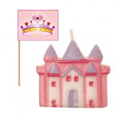 Lumanare pentru tort forma castel + 6 scobitori stegulet princesa, Radar 51414