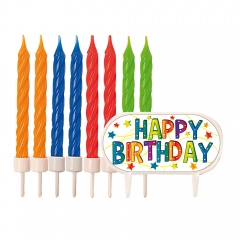 Lumanari aniversare pentru tort cu decor Happy Birthday, Radar 51419, set 8 bucati