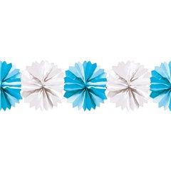 Ghirlanda decorativa cu pampoane albe & albastre - 5m, Radar 545.49