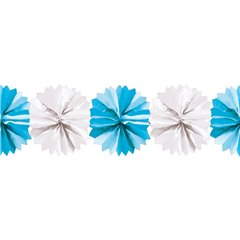 White&Blue Paper Fluffy Decoration Garland - 5m, Radar 545.49