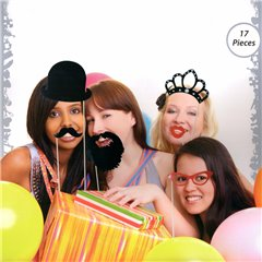 Party photo accessoires on stick, Radar 181057, Pack of 17 pieces