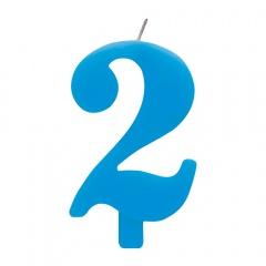 Lumanare aniversara pentru tort, Cifra 2, Albastru, Radar 50922, 1 buc