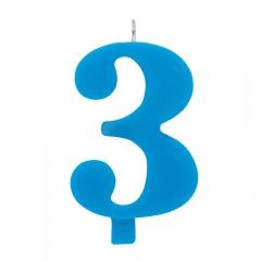 Lumanare aniversara pentru tort, Cifra 3, Albastru, Radar 50923, 1 buc