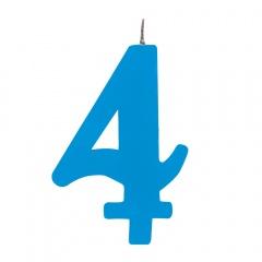 Lumanare aniversara pentru tort, Cifra 4, Albastru, Radar 50924, 1 buc