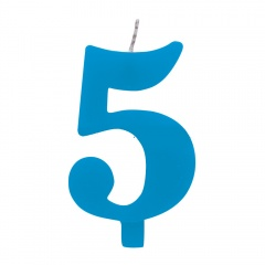 Lumanare aniversara pentru tort, Cifra 5, Albastru, Radar 50925, 1 buc