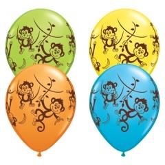 Mischievous Monkeys 11'' Latex Balloons, Qualatex 49276