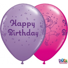 "Baloane latex 11"" inscriptionate Happy Birthday Dora Asortate, Qualatex 10784"