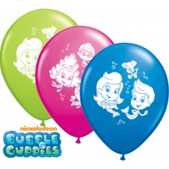 "11"" Printed Latex Balloons, Bubble Guppies Asortate, Qualatex 65891"