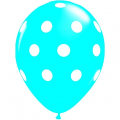Printed Latex Balloons Big Polka Dots Aqua, Radar GI.DOTS.AQUA