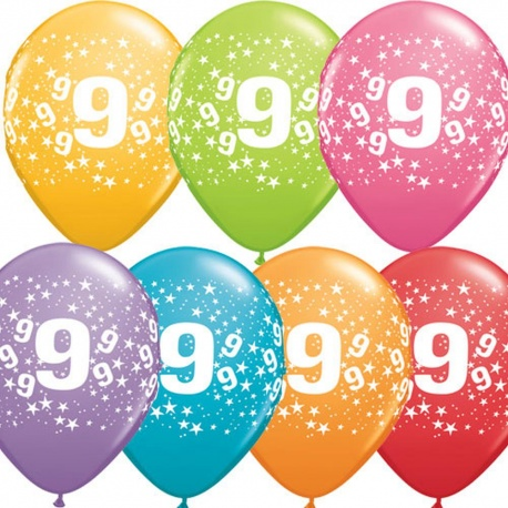 """11"""" Printed Latex Balloons, Happy Birthday Asortate, Qualatex 14517, Pack of 25 Pieces"""