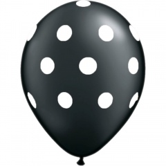 Printed Latex Balloons, Big Polka Dots Black, Radar GI.DOTS.NEGRU