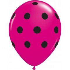 Printed Latex Balloons, Big Polka Dots fucsia, Radar GI.DOTS.FUCSIA
