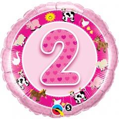 "18"" Round Foil Age 2 Pink Farm Animals, Qualatex 26289"