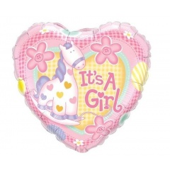 Balon Mini Folie Girafa It's a Girl 23 cm, umflat + bat si rozeta, Qualatex 32945