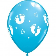"11"" Baby Boy Footprints & Hearts Latex Balloons, Qualatex 44794"