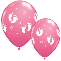 "11"" Baby Girl Footprints & Hearts Latex Balloons, Qualatex 44793"